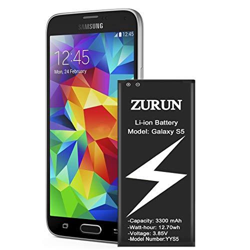 Galaxy S5 Battery ZURUN 3300mAh Li-ion Battery Replacement for Samsung Galaxy S5, Verizon G900V, Sprint G900P, T-Mobile G900T, AT&T G900A, G900F, G900H, G900R4, I9600 [2 Year Warranty]