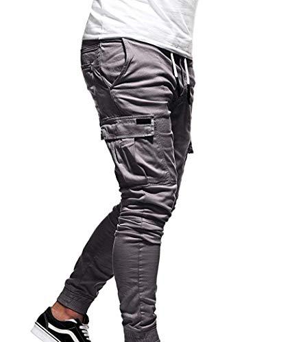 Pantalon Foncé Slim Cargo Fit Guiran Homme Décontracté Bleu Casual BqFwnSE8x