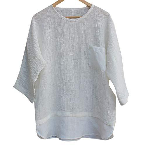 Yucode Men Linen Patchwork Seven-Minute Sleeve Pocket Solid Color Loose Blouse T Shirt Tee