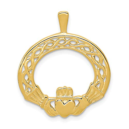 Solid 14k Yellow Gold Claddagh Pendant With Celtic Weave Design 27x23mm