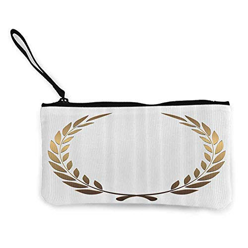 Pencil Bag Gold,Ancient Circular Laurel Wreath with Interlocking Branches and Evergreen Leaves Design,Gold White W8.5