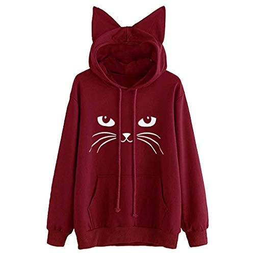 Womens Cat Ear Blouse Sweatshirt Hooded Pullover Tops (L, Q_Wine) ()