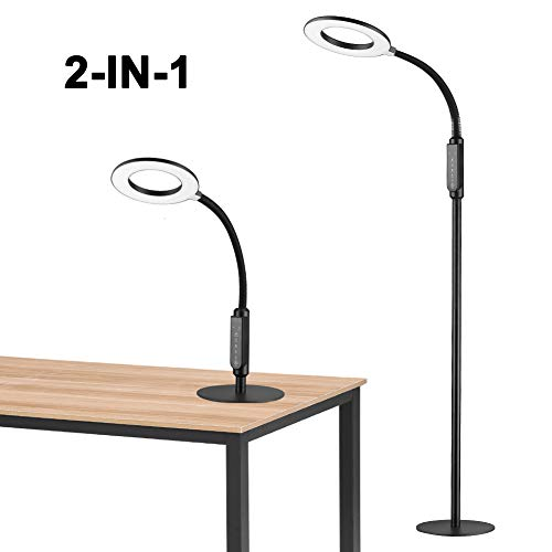 - Floor Lamp 16W LED 2-in-1 Dimmable Reading Desk Lamp: with 4 Operation Mode and Flexible Gooseneck for Living Room Bedroom Office Task - Craft Floor Lamp 1 Pack