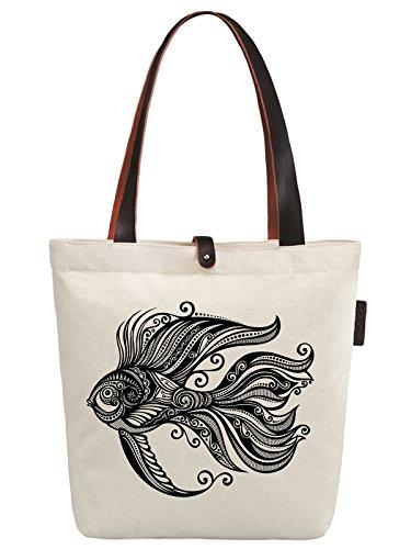 So'each Women's Goldfish Graphic Pattern Canvas Handbag Tote Shoulder Bag