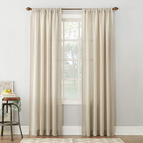 "No. 918 Amalfi Linen Blend Textured Sheer Rod Pocket Curtain Panel, 54"" x 84"", Ivory"