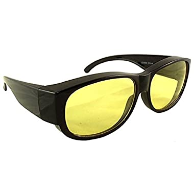 Yellow Night Driving Fit Over Glasses, Wear Over Prescription Glasses, Yellow Lens for Better Night Vision, Size Medium - No Side Shield, Black (Carrying Case Included)