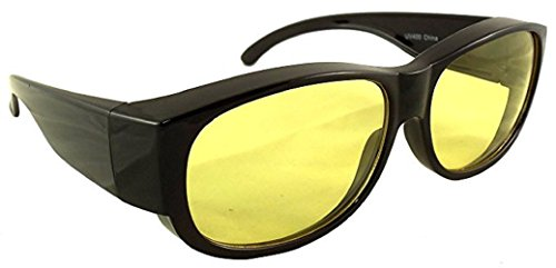 Yellow Night Driving Fit Over Glasses, Wear Over Prescription Glasses, Yellow Lens for Better Night Vision, Size Medium - No Side Shield, Black (Carrying Case - Go Sunglasses Glasses Over To
