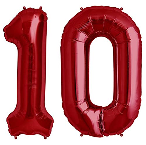 Tellpet Red Number 10 Balloon, 40 Inch ()