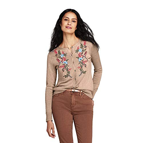 Classic Crew Embroidered Sweatshirt - Lands' End Women's Supima Cotton Embroidered Cardigan Sweater, S, Dark Fawn Heather Embroidered