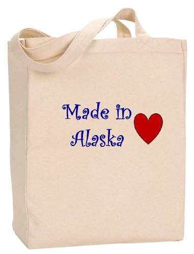 MADE IN ALASKA - State Series - Natural Canvas Tote Bag with - Alaska In Anchorage Shopping