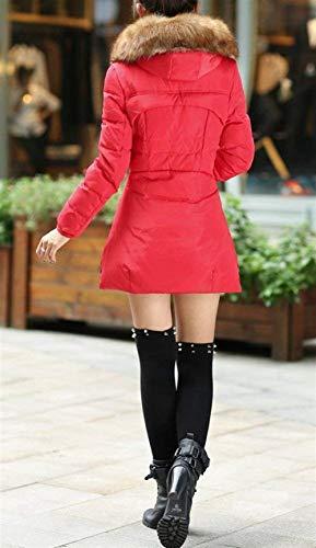 Mujer Elegantes Piel Plumas Casuales Retro Outdoor Acolchado De Grandes Espesar Rot Color Invierno Sólido Manga Capucha Con Tallas Transición Caliente Abrigos Abrigo Larga d1wEOq1