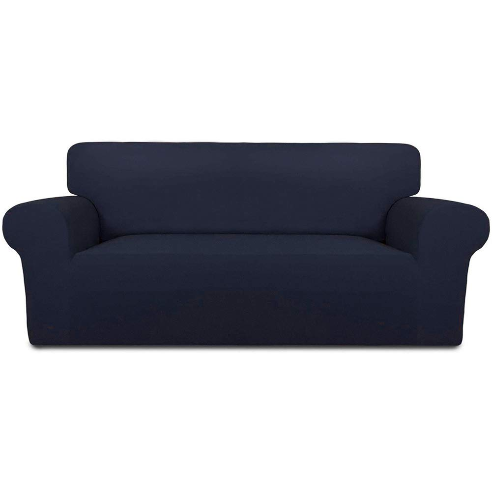 INMOZATA Sofa Covers 3 Seater 1 Piece Polyester Spandex Elastic Sofa Slipcovers Protector, Washable (Navy Blue)