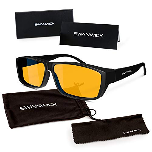 Swannies FITOVER Blue Light Blocking Glasses for Night USE with an Orange Tint Wearable Over Your Readers or Prescription Spectacles - (Black) Large