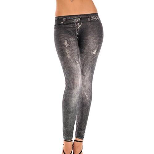 Yuny Women S Modern Ripped Effect Denim Fake Jeans Leggings Durable Modeling Malo Selo Hr