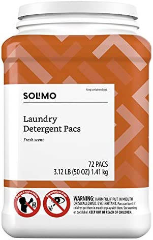 Amazon Brand - Solimo Amazon Brand Laundry Detergent Pacs, Fresh Scent, 72 Count