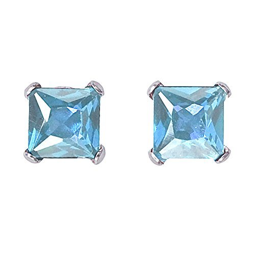 Square Aquamarine 3 Stone Ring - 14k White Gold Square Aquamarine Stud Earrings