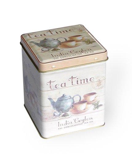 Lata de té de la Compañía de Té India Ceylon, 9,5 x 7,5 x 7,5 cm