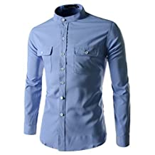 (N340) Slim Stretchy Roll Up Long Sleeve China Callar Shirts SKY XXX-Large(US XX-Large)