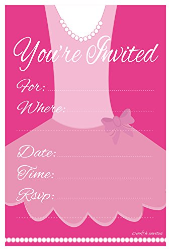Ballerina Birthday Party Invitation Fill In (20 Count) With Envelopes by m&h (Ballerina Birthday Supplies)