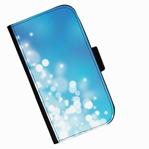 Hairyworm - Blue and white light orbs Samsung Galaxy Ace 4 (SM-G357FZ) leather side flip wallet cell phone case, cover with card slots, money slot and magnetic clasp to (Orb Four Light)