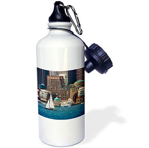 3dRose USA, Massachusetts. Boston Waterfront Skyline with Sailboats. -Sports Water Bottle, 21oz (wb_189382_1), 21 oz Multicolor ()