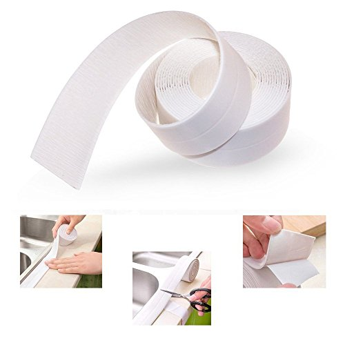 Loobani PE Bathtub Counter Caulk Strip Seal For Bath Tub Kitchen, Shower Toilet Wall Sealant Tape,Flexible Peel and Stick (38mm x 1Pack, (Caulk Tub Surround)