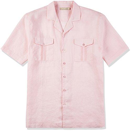(Isle Bay Linens Men's Short Sleeve Standard Guayabera Shirt Pink X-Large )