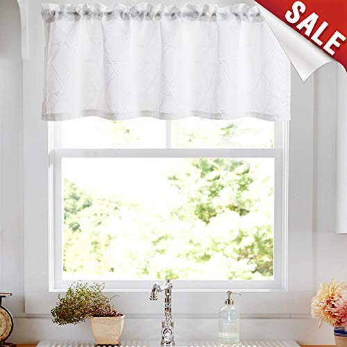 """jinchan White Valance Curtains for Living Room Curtain Jacquard Contemporary Lattice Grommet Window Treatment Set for Bedroom 1 Panel 16"""" L"""