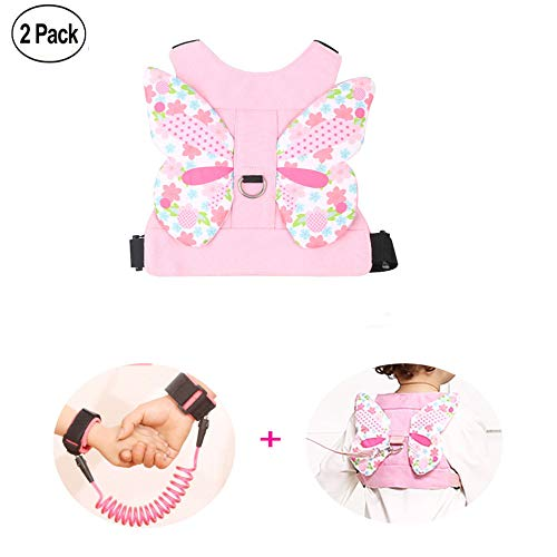 Anti Lost Wrist Link + Toddlers Leash 2 packs Child Walking Safety Harness Kids Wristband Assistant Strap Belt (Butterly pink) by Standard (Image #2)