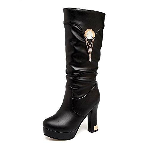 Balamasa Womens Fashion Pull-on Solide Urethaan Laarzen Zwart