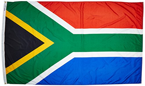 Annin Flagmakers Model 197570 South Africa Flag Nylon SolarGuard NYL-Glo, 5x8 ft, 100% Made in USA to Official United Nations Design Specifications