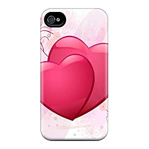 Excellent Hard Phone Covers For Iphone 4/4s (DJW15360jBgj) Custom Realistic Pink Heart Series