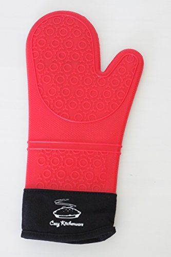 Silicone Oven Mitt and Potholder: This Extra Long Red Glove Saves Forearms From Burns | Waterproof Rubber Withstands Hot Steam and Heat Up To 482°F | Comfortable To Wear, Easy To Clean Kitchen Grips Silicone Pot Holder