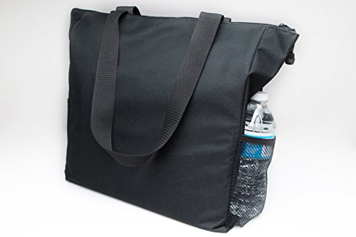 Black Tote Bag 17 Inches Travel Shopping Business Handle Carrier by MakExpress by MakExpress (Image #4)