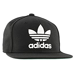 adidas Men\'s originals snapback flatbrim cap, Black/White, One Size