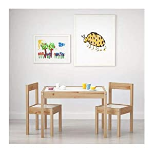 Ikea LATT-Children-s Table with 2 Chairs, White, Pine, Beige