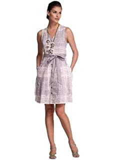 Anthropologie Maeve Magnifying Glass Dress Gray Cross Hatch Size 6
