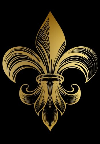 Golden Fleur De Lis Notebook (A5): A Classic Ruled/Lined Journal/Composition Book To Write In With Gold French Fleur De Lis Flower (Black) (Cute Best Friend and Other Women and Teen Girls)