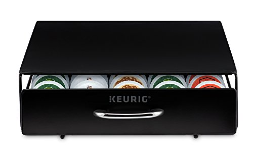 Keurig Under Brewer Storage Drawer, K-Cup Pod Organizer Holds 35 Coffee Pods, Fits Under Keurig K-Cup Pod Coffee Makers, Black