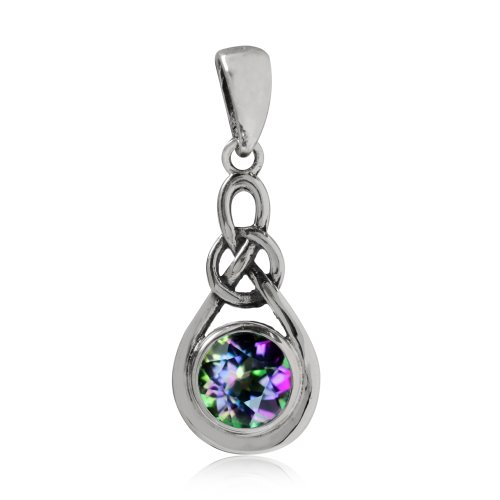 (Mystic Fire Topaz 925 Sterling Silver Celtic Knot Drop)