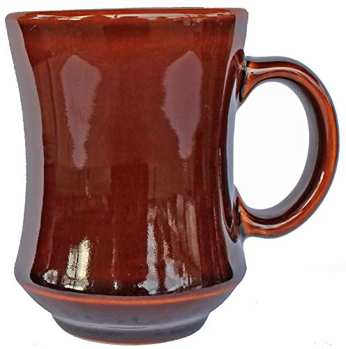 - Small Ceramic Diner Coffee and Tea Bell Mugs with Pan Scraper, 7.5 Ounce, Caramel Brown, Set of 2