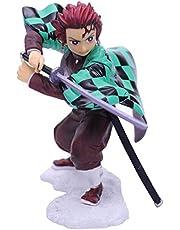 Ainme mini figur anime figur staty 15cm japanska ainme mini figur populära ainme figurine pvc leksak skrivbord ornaments födelsedag gåvor för barn-Strid tanjiro