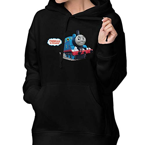 Black6red Thomas and His Friends Pullover Hooded Sweatshirt with Pocket for Women Black M