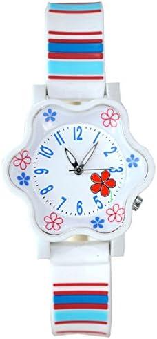 専用デザイン 可愛い花形 ガールズ腕時計 ソフトで快適なバンド付き 小さな女の子用ギフト 5 - 12 years old ホワイト