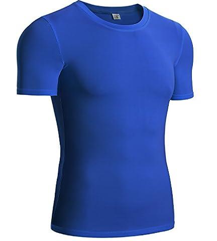 Men's Compression Shirt Sports Running Shirts Crewneck Short-sleeve(Large,1 Pack-Blue) - 1p Suits