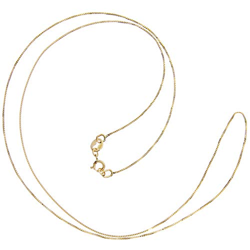 14K Solid Yellow Gold Necklace | Box Link Chain | 20 Inch Length | .60mm Thick | With Gift Box