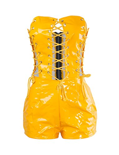 VWIWV Women's Sexy Off Shoulder Lace up Front Short Bodycon Rompers PU Leather Party Clubwear Playsuits