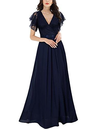 Miusol Womens Casual Deep- V Neck Sleeveless Vintage Wedding Maxi Dress,X-Large,Navy Blue