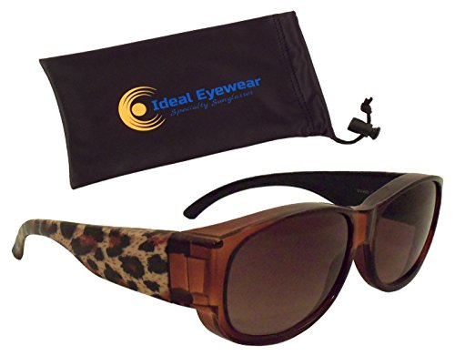 (Animal Print Fit Over Sunglasses by Ideal Eyewear - Wear Over Prescription Glasses - Over Eyeglasses - Light and Comfortable - Case Included (Leopard with case, Medium))