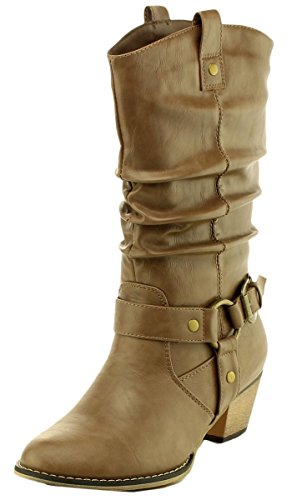Cambridge Select Women's Pull On Western Style Cowboy Boots (10 B(M) US, Taupe)